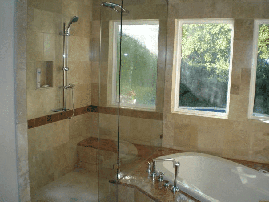 Bath remodel 2 shiretown home improvements glass for Bathroom remodel 70 square feet