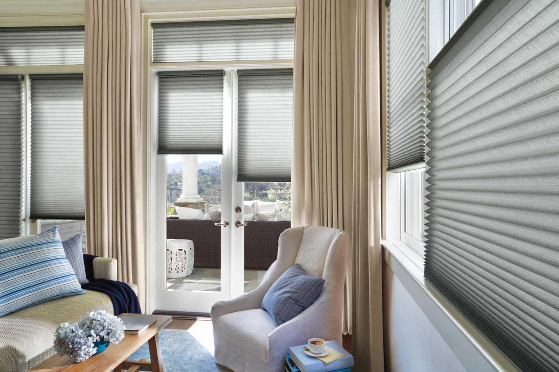 HunterDouglas by Shiretown Home Improvement Nantucket Shading, Fabric/Material: Sunscreen privacy shadings