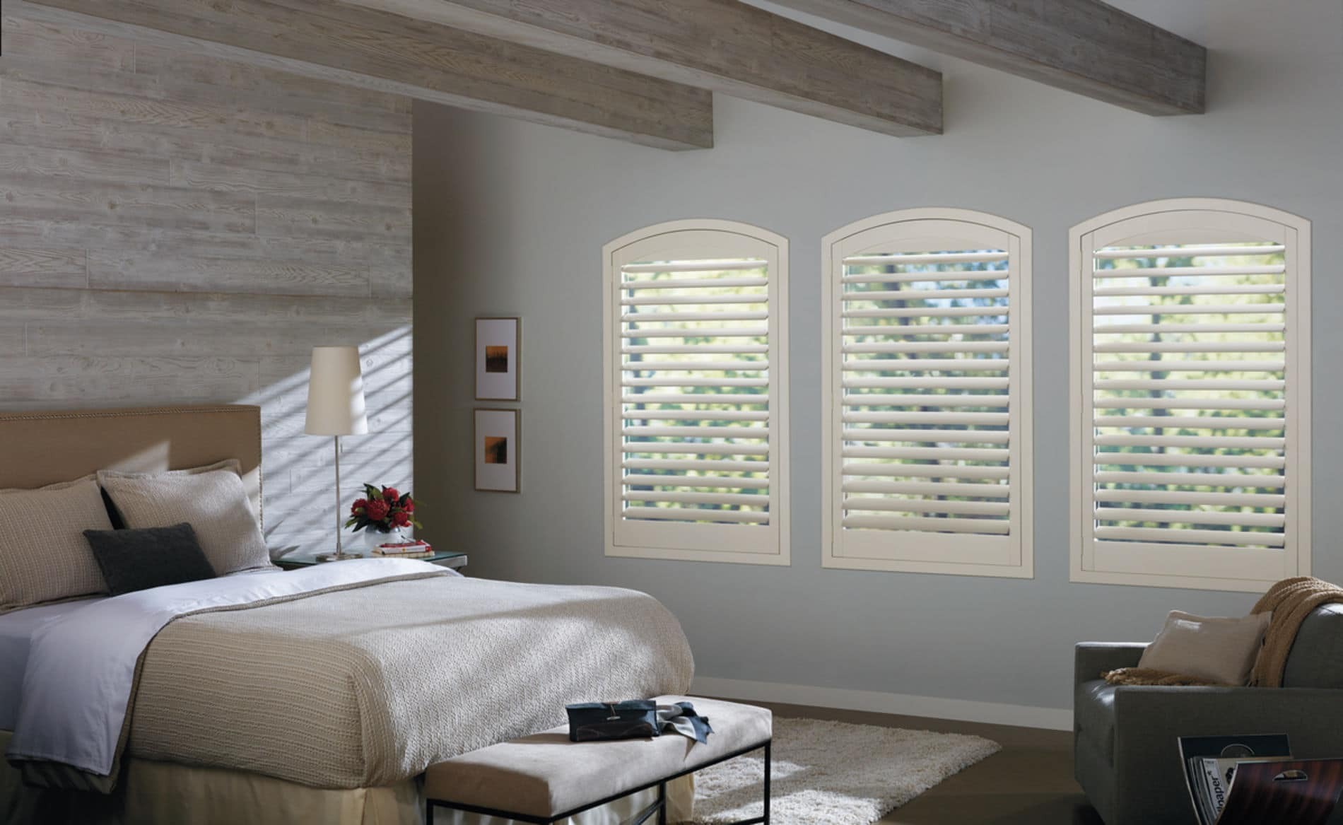 HunterDouglas by Shiretown Home Improvement Newstyle Hybrid Shutters, Fabric/Material: Hybrid