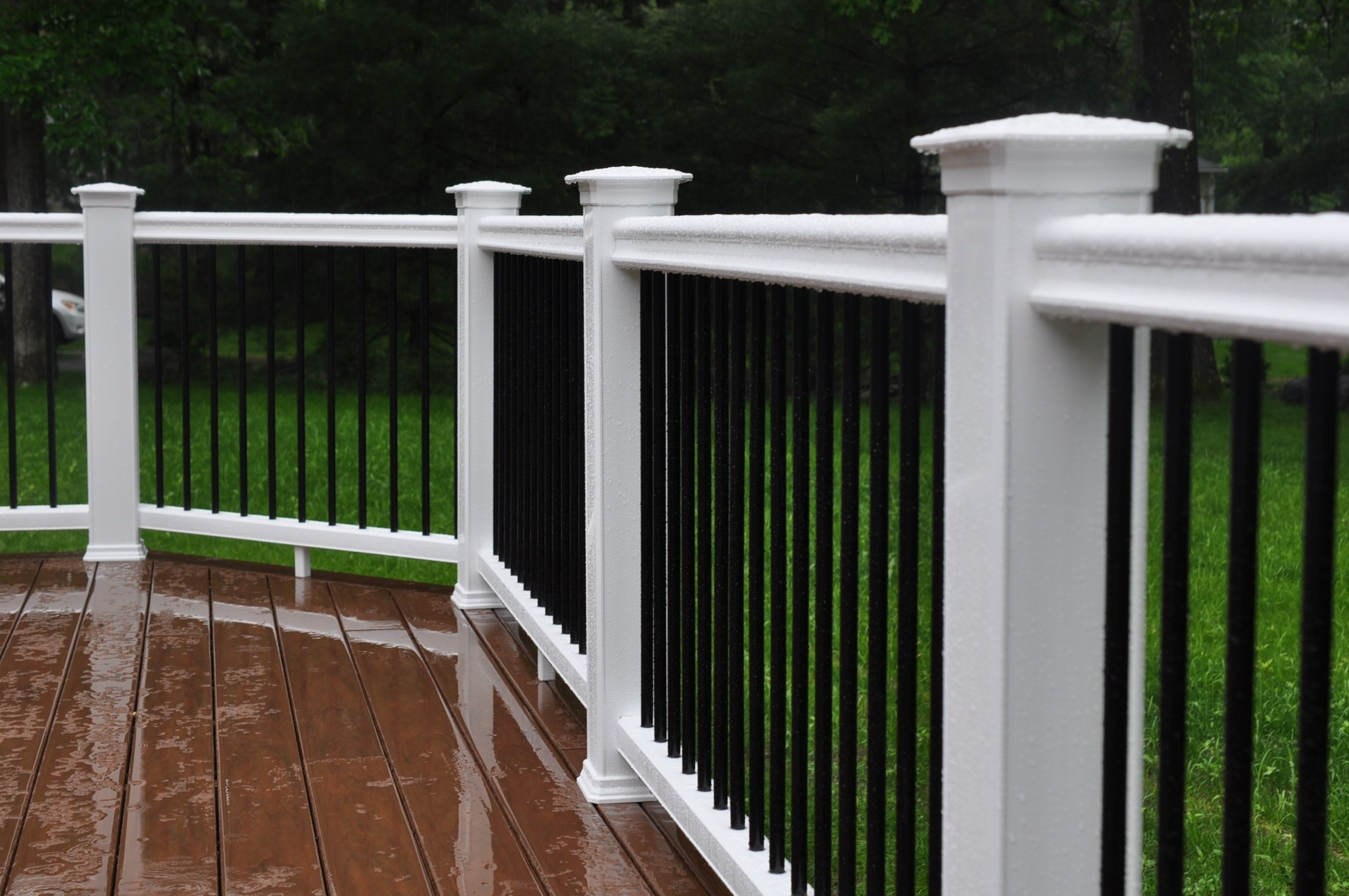 Decks railings shiretown home improvements glass for Building a composite deck