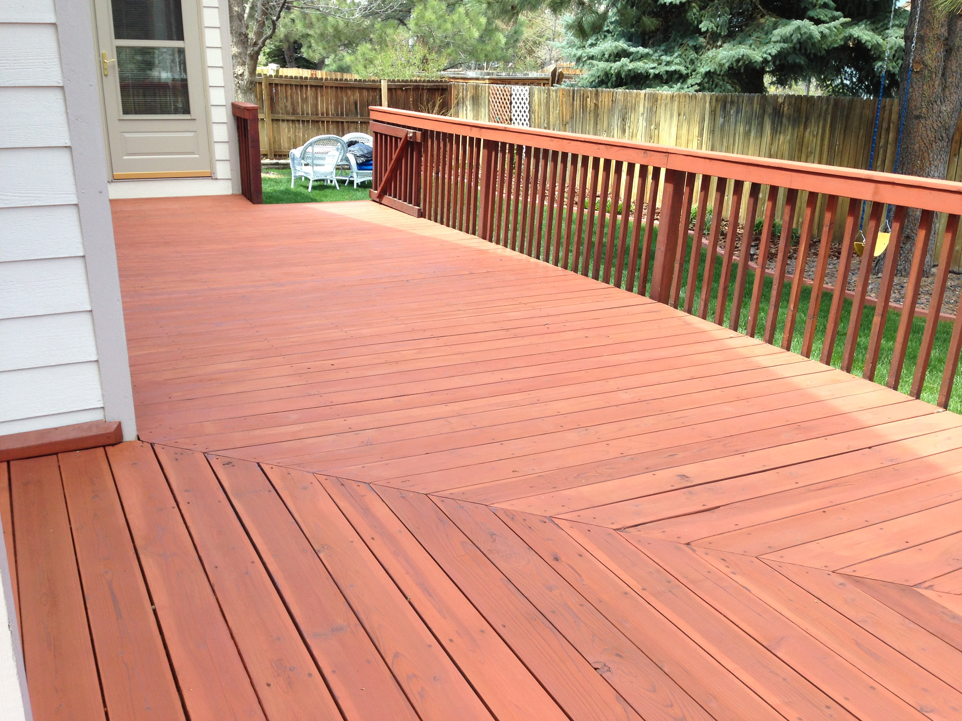 Decks railings shiretown home improvements glass beautiful cabot deck stain 2 cabot redwood solid nvjuhfo Gallery