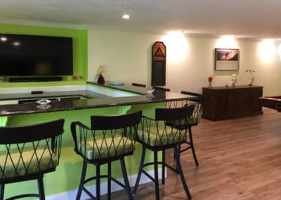 Finished Basement With Countertop And TV Plymouth MA
