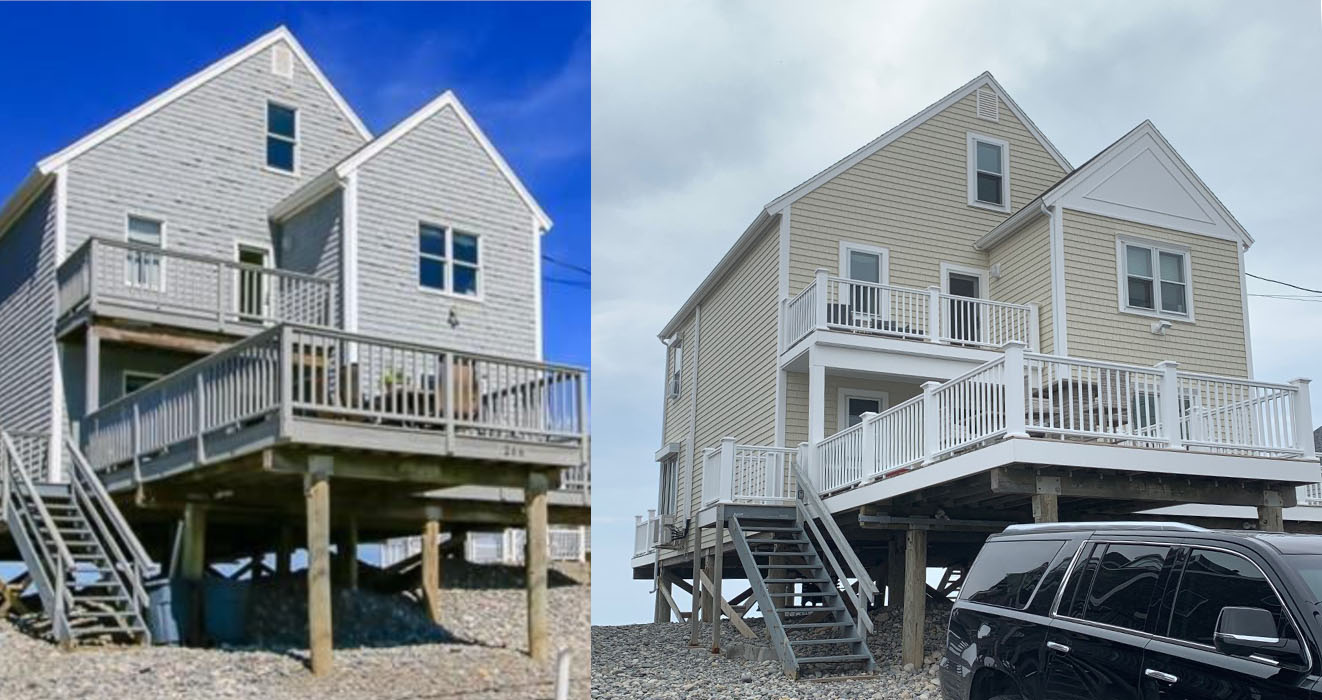 Before and After Professional Siding Contractor Plymouth MA